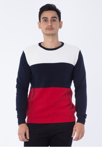 Arnold Palmer navy ARNOLD PALMER COLOR BLOCK SWEATER 6C72AAADEC27D5GS_1