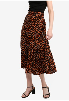 91b65511dd Dorothy Perkins brown Brown Cheetah Print Pleated Midi Skirt  31978AA4744B44GS_1