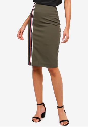 Hopeshow green Pencil Skirt With Stripe Design 1B297AA82D476FGS_1