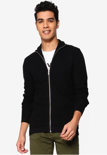 !Solid black Shad Zip Through Cardigan ECA60AAE54E573GS_1