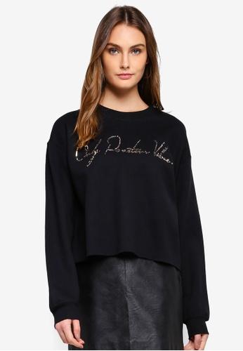River Island black Positive Vibes' Foil Print Sweatshirt 9A5C7AAB9198BCGS_1