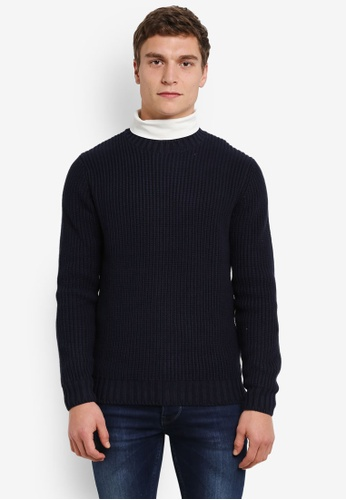 MANGO Man navy Knit Cotton Sweater MA449AA0S37WMY_1
