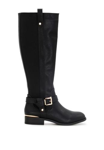 London Rag black Knee High Boots with Adjustable Buckle SH1714 299DBSHC680773GS_1
