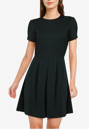 ZALORA WORK green Pleat Detail Fit & Flare Dress A5872AA032E0EDGS_1