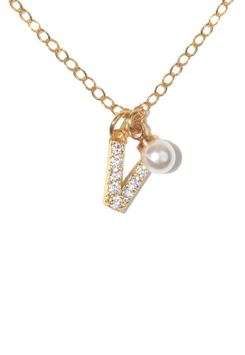PSYNDROME gold Personalised Initial Diamond Letter Alphabet with Pearl Necklace - V F74B2AC6483139GS_1
