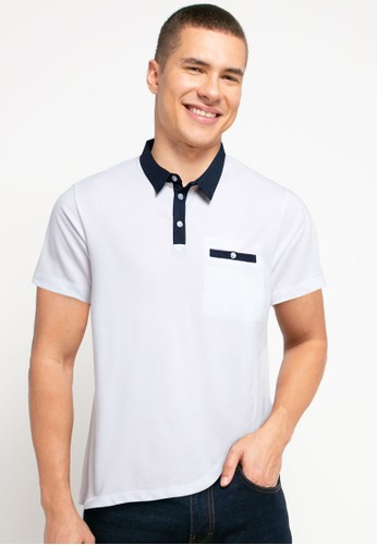 Tolliver white and navy Cotton Colar Polo Shirt F5A03AA4896D17GS_1