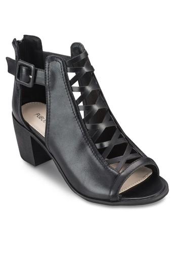 Susan 鏤空仿皮粗跟踝靴, 女鞋esprit outlet hong kong, 鞋