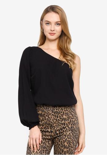 Abercrombie & Fitch black One Shoulder Bodysuit 1783CAAE8B8398GS_1