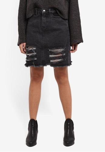 Something Borrowed black Mesh Insert Ripped Denim Skirt CC646AAC2D88CEGS_1