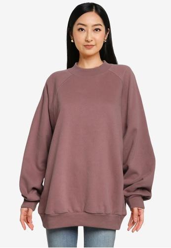 GAP pink Fleece Mock Neck Oversized Sweatshirt C62CCAA0D7387CGS_1
