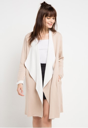 COME beige and brown Waterfall Two Tone Cardigan 5F0A9AA76872D1GS_1