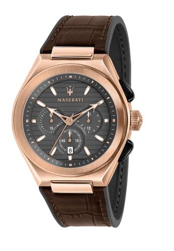 Maserati brown Triconic Chronograph Quartz Watch Brown LEATHER R8871639003 C18CDACBB9CB03GS_1