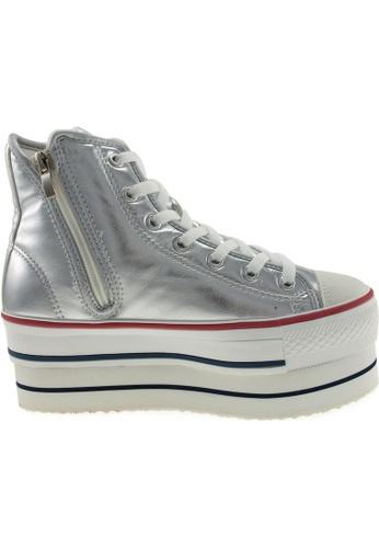 Maxstar silver Maxstar Women's CN9 7 Holes Double Platform PU High Top Sneakers US Women Size MA164SH16PPVSG_1