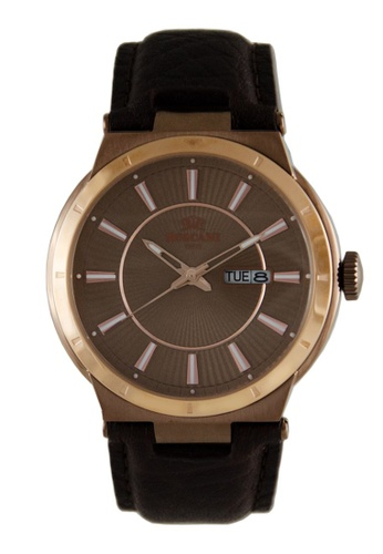 Roscani gold Roscani Mark 912 (Curve Crystal + WR 5ATM) Rose Gold Brown Leather Men Watch 6730AAC7F25FFAGS_1