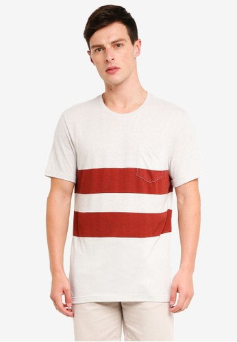 J.Crew red and multi Triblend T-Shirt In Red Double-Stripe 36FF7AACC1BCDDGS_1