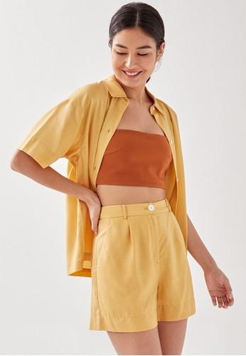 Love, Bonito yellow Bailey Tailored Linen-blend Shorts 032B0AA56B8CF7GS_1