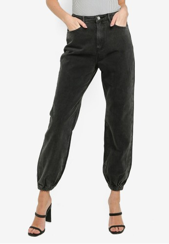 MISSGUIDED black Riot Highwaisted Mom Jogger Jeans ABA09AAA5784F9GS_1