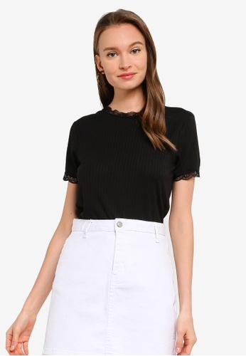 Brave Soul black Lace Neck T-Shirt E59ACAA1DD91CAGS_1