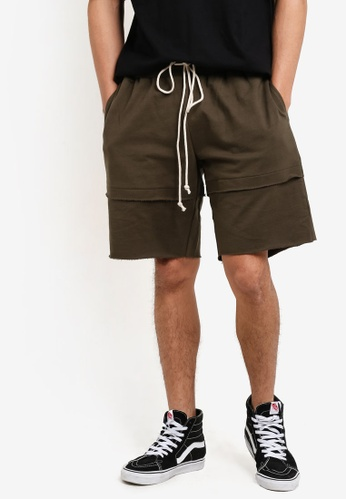Flesh IMP 綠色 Double Layered Shorts FL064AA61WZUMY_1
