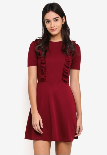 Something Borrowed red Fit & Flare Ruffle Knit Dress E538BAA849CC40GS_1