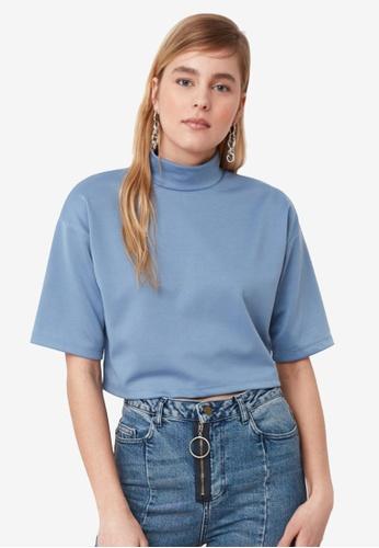 Trendyol blue High Neck Oversized Crop Top 4C144AAE323C38GS_1