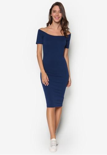 平口露肩修身連身裙, 服esprit 尺寸飾, 洋裝