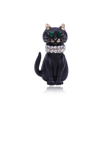 Glamorousky white Simple and Cute Plated Gold Cat Brooch with Green Cubic Zirconia F8C31AC3FEB868GS_1