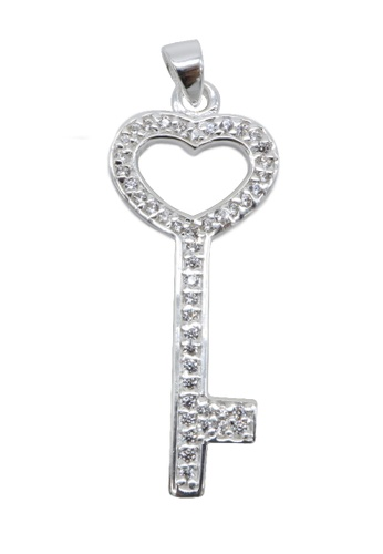 Silverworks silver Annabelle Heart Key Silver Charm with Zirconia Stones 72FCFAC8B82A45GS_1