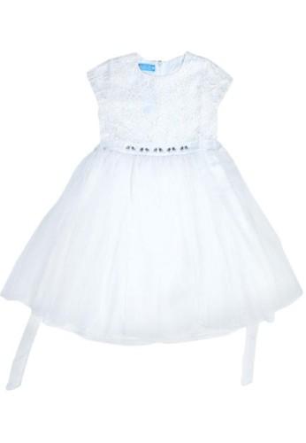 Versail white Versail Enfant Dress Brukat Jaring Aplikasi Batu 3F95BKA8CEDBEBGS_1
