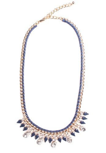 BRANWYN blue Lindsay Faceted Stones Necklace with Ribbon Detail in Blue AE709AC36YZBPH_1