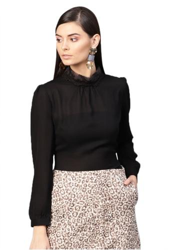 SASSAFRAS black Black Lace On Neck Top 596D5AA4AD3C52GS_1
