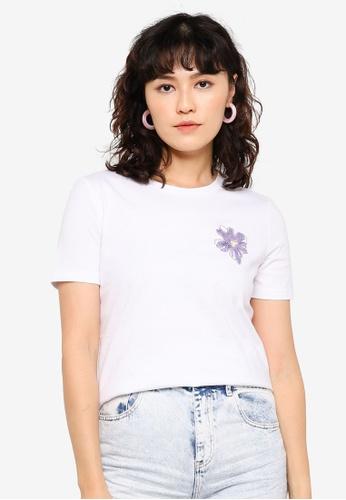 Urban Revivo white Orchid Detail T-shirt 1DCD0AAC1F89C8GS_1