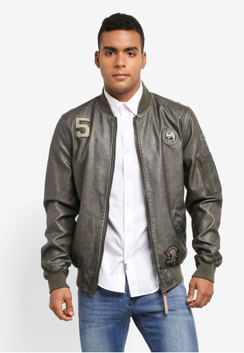 Indicode Jeans green Diego PU Leather Jacket D5C26AA423DB30GS_1