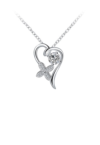 Glamorousky white Fashion Elegant Heart-shaped Four-leafed Clover Pendant with Cubic Zircon and Necklace E7CD5AC2F828D5GS_1