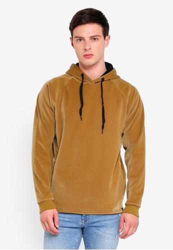 Only & Sons brown Troels Raglan Cord Hoodie 8ED48AAABAA645GS_1