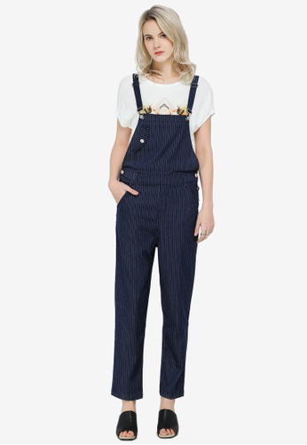 Hopeshow navy Striped Pinafore Jumpsuit FE611AA7DB47A5GS_1