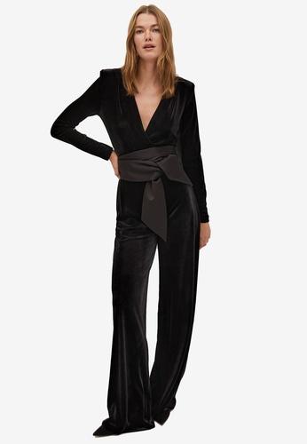 Mango black Bow Velvet Textured Jumpsuit C1F43AA36CDD5FGS_1