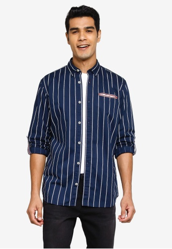 Jack & Jones navy Long Sleeve Print Shirt 2750AAA84E55C6GS_1
