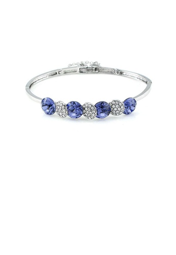 Glamorousky purple Glistering Bangle with Purple and Silver Austrian Element Crystals B49D4ACB895414GS_1