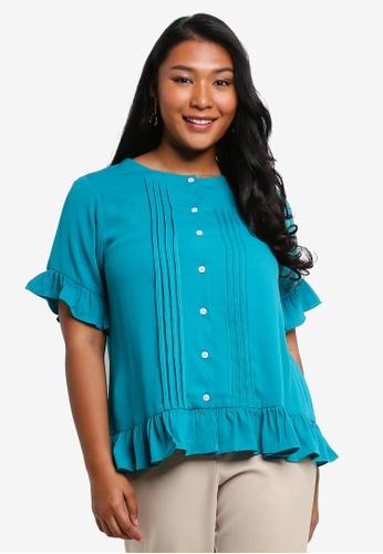 Ex'otico green Plus Size Short Sleeve Pleated Frilly Blouse 5E6EDAA96E1BA6GS_1