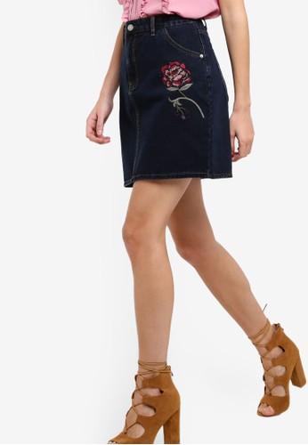 繡花丹寧短裙, zalora 內衣服飾, 裙子