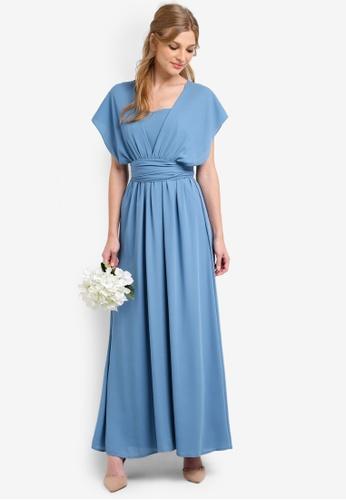 ZALORA blue Bridesmaid Multi Ways Bustier Maxi Dress BA2F0AACBA2B59GS_1