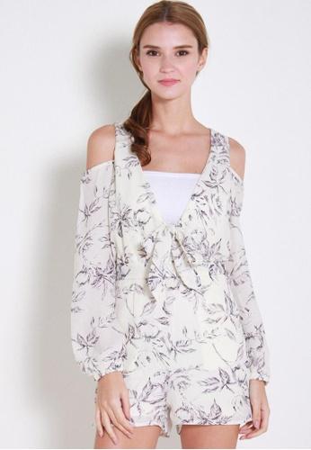 Leline Style white Deka Floral Romper LE802AA85XDESG_1