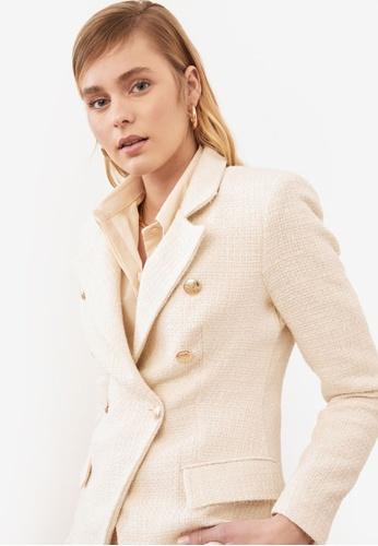 Trendyol beige Button Detail Blazer Jacket 5DEDCAA947BDE7GS_1