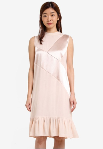 ZALORA beige Satin Paneled Dress 48B40ZZA867AAFGS_1