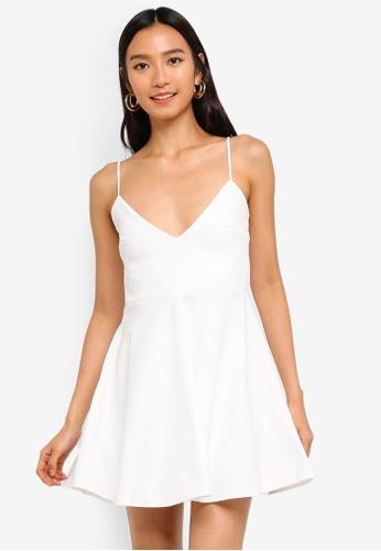 31f24942409d MISSGUIDED white Petite Strappy Scuba Skater Dress 00253AA122D2D9GS 1