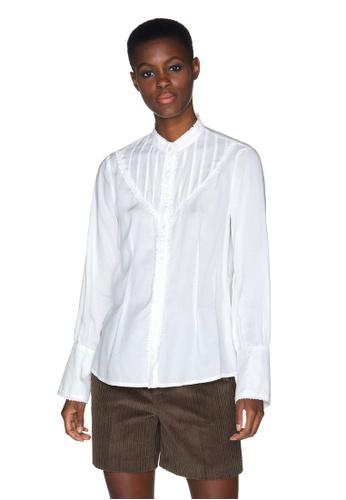 United Colors of Benetton 白色 蕾絲袖設計襯衫 D6415AABEFCD07GS_1