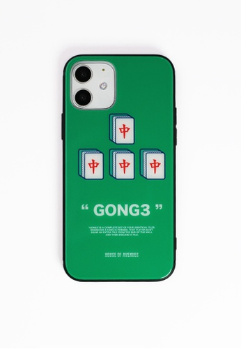 House of Avenues green Mahjong Pattern Tempered Glass Shell Phone Case For iPhone 12 B1371AC7E0643DGS_1