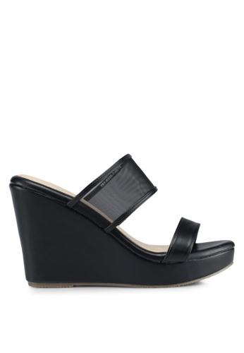 Bata black Bata Mesh Strap Wedge Sandals A4275SH6731CF7GS_1