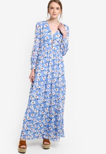 花卉印花長袖連身長裙, 服飾esprit 台北, 洋裝